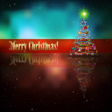 Abstract background with Christmas tree. Abstract celebration background with Christmas tree and stars Stock Photography