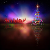 Abstract background with Christmas tree. Abstract dark celebration background with Christmas tree and stars Royalty Free Stock Photo