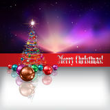 Abstract background with Christmas tree and decora Royalty Free Stock Images