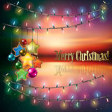 Abstract background with Christmas tree. Abstract background with Christmas lights decorations and stars Royalty Free Stock Image