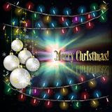 Abstract background with Christmas tree. Abstract background with Christmas lights white decorations and stars Royalty Free Stock Photography