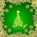 Abstract background with gold christmas tree , snowflakes and stars. Illustration in green and gold colors. Vector. Abstract background with christmas tree and royalty free illustration