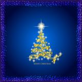 Abstract background with gold christmas tree and stars. Illustration in blue and gold colors. Abstract background with christmas tree and stars. Illustration in vector illustration