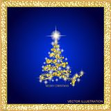 Abstract background with gold christmas tree and stars. Illustration in blue and gold colors.Vector illustration. Abstract background with christmas tree and stock illustration