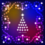 Abstract background with christmas tree and stars. Illustration in blue and white colors. Abstract christmas background with christmas tree and stars Royalty Free Stock Photography