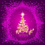 Abstract background with gold christmas tree and stars. Illustration in lilac and gold colors. Abstract background with christmas tree and stars. Illustration Royalty Free Stock Photos