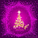 Abstract background with gold christmas tree and stars. Illustration in lilac and gold colors.Vector illustration. Abstract background with christmas tree and Stock Illustration