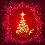 Abstract background with gold christmas tree and stars. Illustration in red and gold colors. Abstract background with christmas tree and stars. Illustration in vector illustration