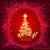 Abstract background with gold christmas tree and stars. Abstract background with christmas tree and stars. Illustration in red and gold colors.Vector vector illustration