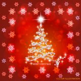 Abstract background with christmas tree and stars. Illustration in red and white colors. Bright abstract background with christmas tree and stars. Illustration vector illustration