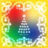 Abstract background with christmas tree and stars. Illustration in yellow and white colors. Abstract christmas background with christmas tree and stars Stock Image