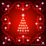 Abstract background with christmas tree. Vector illustration in red and white colors. Abstract background with christmas tree, lines, stars and ornaments royalty free illustration