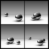 Abstract background with chrome balls. Abstract gray background with chrome balls stock illustration