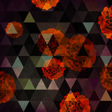 Abstract background with chrysanthemum and triangles on dark ba. Ckground, illustration Royalty Free Illustration
