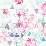 Abstract background with  chrysanthemum and triangles on light b Royalty Free Stock Image