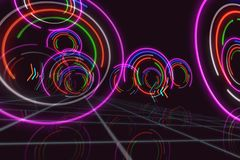 Abstract background circle. Abstract background with neon light circles in 3D perspective. Futuristic illustration stock illustration