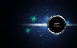 Abstract background circle button on digital tech sci fi concept pattern. Eps 10 vector royalty free illustration