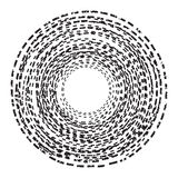 Abstract background. Circle of the dotted line. Black and White Stock Photo