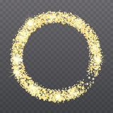 Abstract background with circle frame. And space for text. Vector glitter decoration, golden dust, confetti, sparkling golden ring, spark special effect Royalty Free Stock Image