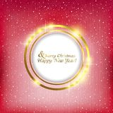 Abstract background with a circle for the record. Christmas abstract background with Golden frame for text Royalty Free Stock Photos