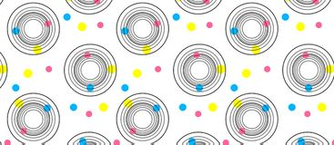 Abstract background with circles of different colors and circles. Of black lines stock illustration