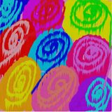 Abstract background of circles and dots of colored spilled ink flowing in the form of flowers. Abstract background of colored circles and dots of red and yellow Stock Photos