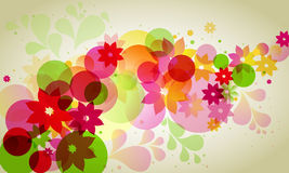 Abstract background with circles. And flowers stock illustration
