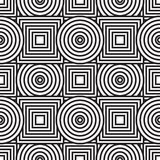 Abstract background with circles and squares. Black-and-white abstract background with circles and squares. Seamless pattern. Vector illustration Stock Image