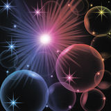 Abstract background with circles, stars, rings. On a multi-colored background Royalty Free Stock Image