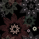 Abstract background of circular patterns on black. Multicolored circular patterns on a black background stock illustration