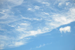Abstract background cirrus clouds on light blue sky Stock Images