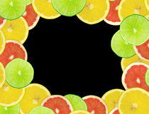 Abstract background of citrus. Slices. Closeup. Studio photography Royalty Free Stock Images