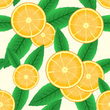 Abstract background with citrus-fruit. Of orange slices and green leaf. Seamless pattern. Vector illustration Royalty Free Stock Photos