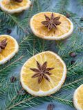 Christmas background with citrus fruit of orange slices and star anise on the spruce branches. Stock Photography