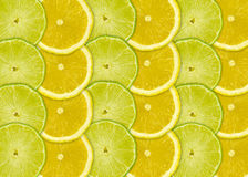 Abstract background with citrus-fruits slices of lemon and lime Stock Photos