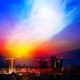Abstract background with city and sunrise. Abstract nature background with city and clouds Royalty Free Stock Photos