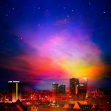 Abstract background with city and sunrise. Abstract night background with city stars and clouds Stock Photos
