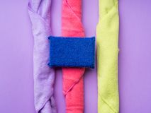 Abstract background with cleaning cloths, sponges. Colorful washing concept Royalty Free Stock Photography