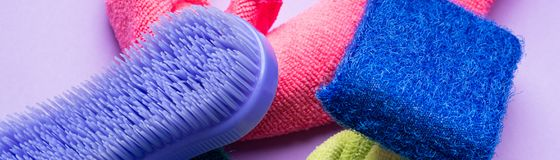 Abstract background with cleaning cloths, sponges. Colorful washing concept Stock Image