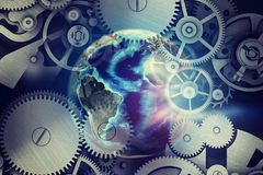 Abstract background with clockwork and globe model Stock Photography