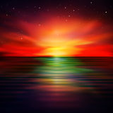 Abstract background with clouds and sunrise. Abstract nature background with ocean and red sunrise Royalty Free Stock Images