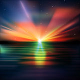 Abstract background with clouds and sunrise. Abstract nature background with stars and ocean sunrise Royalty Free Stock Images