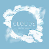 Abstract background of the cloudy blue sky. Banner design with circle for text and frame of clouds stock illustration