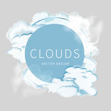 Abstract background of the cloudy blue sky. Banner design with circle for text and frame of clouds vector illustration