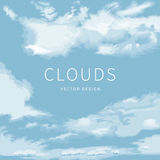 Abstract background of the cloudy blue sky. Frame of clouds and space for text stock illustration