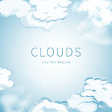 Abstract background of the cloudy blue sky. Frame of clouds and space for text royalty free illustration