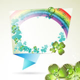 Abstract background with clover. Rainbow and drops of water Stock Photo