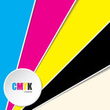 Abstract background with CMYK text. Abstract cmyk background with 3d button and CMYK text Royalty Free Stock Photography