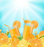 Abstract Background for Cocktail Party. Illustration Abstract Background for Cocktail Party with Sliced of Oranges, Lemons and Fresh Beverages - Vector stock illustration