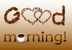 Abstract background with coffee beans and cups. With good morning wishes stock illustration